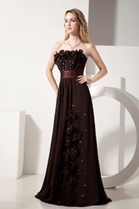 Brown Floor Length Prom Pageant Dresses with Flowers and Beading