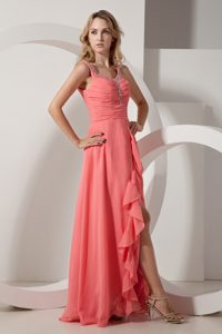 Beaded and Ruched Watermelon Straps Prom Pageant Dresses Chiffon