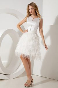 White Scoop Mini Prom Pageant Dresses with Feather and Beading