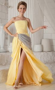 Yellow and Gray Strapless High Slit Chiffon Prom Pageant Dresses