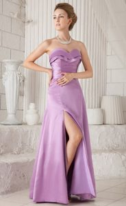 Lavender Floor Length Prom Pageant Dress with High Slit Strapless