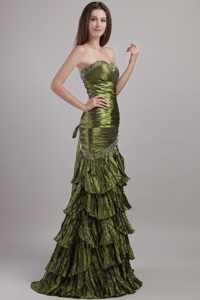 Beaded Olive Green Prom Pageant Dress with Ruches and Ruffled Layers