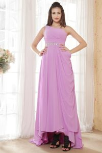 Lavender One Shoulder Prom Pageant Dress with Beading and Ruches