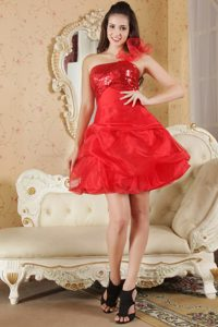 Sequins and Pick ups Accent Red One Shoulder Prom Dama Dresses