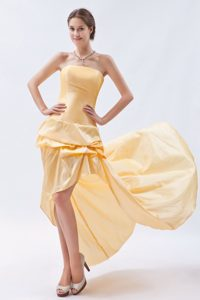 Pick ups Accent Gold Taffeta Strapless Prom Dama Dresses on Sale