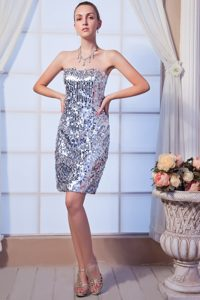 Silver Column Mini Prom Dama Dresses with Paillette Over Skirt
