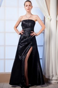 Ruched Black High Slit Prom Homecoming Dress of Floor Length 2014