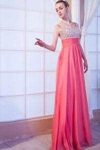 Empire Spaghetti Straps Brush Train Prom Holiday Dress Hot Pink
