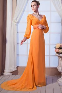 Orange Red V-neck Chiffon Prom Holiday Dresses with Long Sleeves