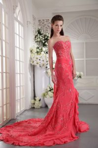Turn Heads Coral Red Court Train Prom Gown Dress Appliqued