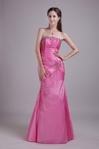 Discount Strapless Beaded Rose Pink Prom Dress in Englewood