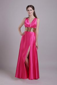 Hot Pink v-Neck Slitted Prom Dress for Girls with Crisscross Back