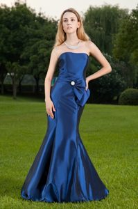Elegant Mermaid Strapless Blue Prom Party Dress Floor-length