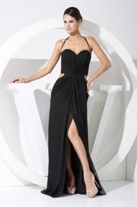 Black Halter High Slit Prom Homecoming Dress with Cutout Waist