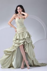 Beading and Pick ups Accent High Low Prom Dresses in Yellow Green
