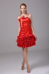 Beading Ruffled Layers Red Prom Homecoming Dress Spaghetti Straps