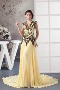 Court Train V-Neck Pleated Yellow Prom Dress with Appliques