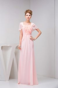Cute Square Neck Short Sleeves Pink Prom Dress with Flowers