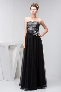 Tulle Sweetheart Black Prom Dress with Handmade Flower