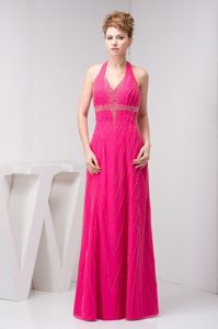 Halter Backless Denver Hot Pink Long Prom Dress with Beading