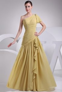 Chiffon One Shoulder Yellow Prom Dress for Girls Floor-length
