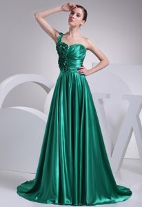One Shoulder Ruched Turquoise Prom Evening Dress about 150