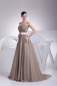 Free Shipping Strapless Ruched Grey Prom Dress with Pink Sash