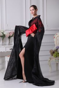 Long Sleeves Slitted Black Prom Evening Dress with Red Bowknot