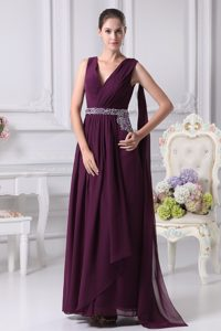 Lace-Up V-Neck Broomfield Hot Sale Purple Long Prom Gowns