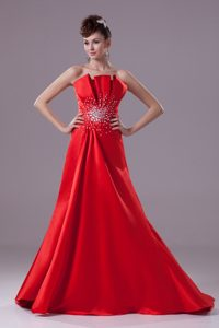 Traditional Red Sweep Train Prom Dress with Rhinestones