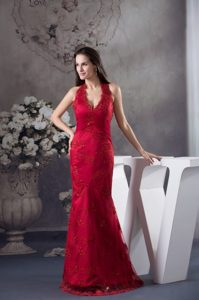 Wine Red Halter-Top Prom Dress for Women with Embroidery