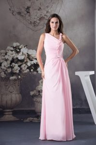 Asymmetrical Neckline Pink Prom Gown Dress with Flowers