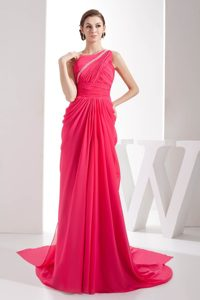 Pretty Watteau Train Beaded Ruched Coral Red Dress for Prom