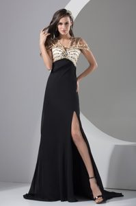 Brush Train Beaded Black Prom Holiday Dress Special Neckline