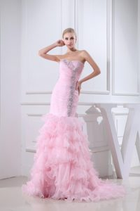 Sweetheart Beaded Ruffled Baby Pink Prom Dress in California