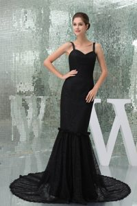 Mature Mermaid Straps Black Lace Prom Celebrity Dress