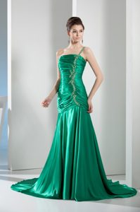 Court Train One Shoulder Green Ruched Beaded Prom Dress