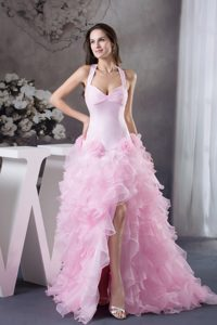 Halter Pink High-Low Dress for Prom with Flowers And Ruffles