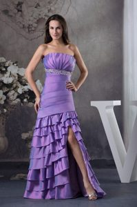 Lavender High Slit Prom Homecoming Dress with Beading Ruffled Layers