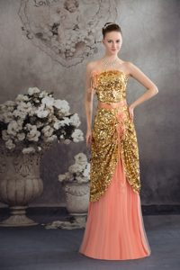 Gold Paillette and Flowers Accent Pleated Watermelon Prom Dresses