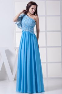 Lace Accent One Shoulder Blue Empire Long Prom Celebrity Dresses