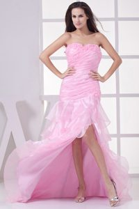Cheap Slitted Sweetheart Pink Prom Dress for Girls Brush Train