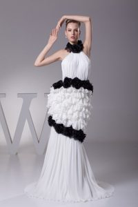 Unique Halter White Brush Train Prom Dress with Flowers