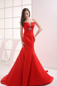 Fabulous Mermaid Chapel Train Red Prom Gowns in Birmingham