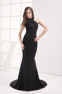 Affordable Halter Top Brush Train Black Prom Dress for Girls