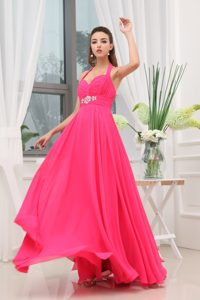 Beaded and Ruched Empire Halter Prom Celebrity Dress in Hot Pink