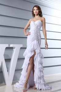 Sweetheart Brush Train Beaded Ruffled Prom Gowns in White