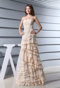 2013 Cheap Champagne Long Prom Dress with Ruffled Layers