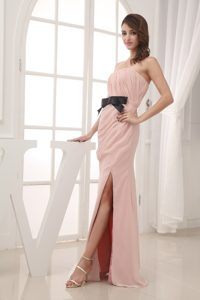 Pink Strapless Prom Celebrity Dress with Ruches Sash and High Slit