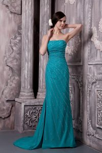 Court Train Strapless Teal Court Train Prom Gowns with Beading